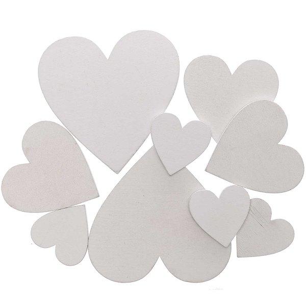 Herzen aus Holz weiß 9 Stück