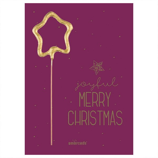 wondercandle Wondercard Mini-Geschenkkarte mit Wunderkerze Merry Christmas