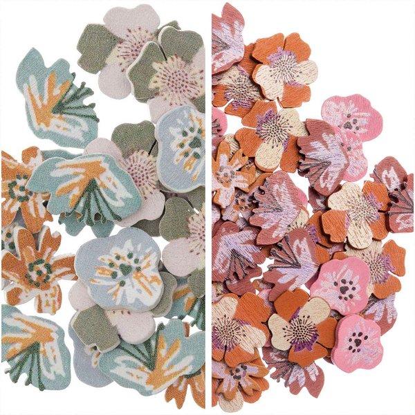 Ohhh! Lovely! Holzstreu Blüten Mix 48 Stück