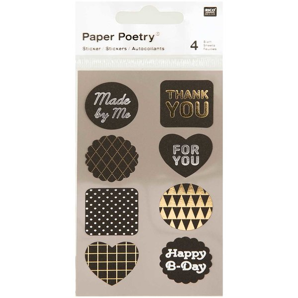 Paper Poetry Sticker Labels schwarz-metallic 4 Bogen