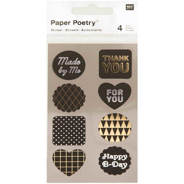 Paper Poetry Sticker Labels schwarz-metallic 4 Bogen