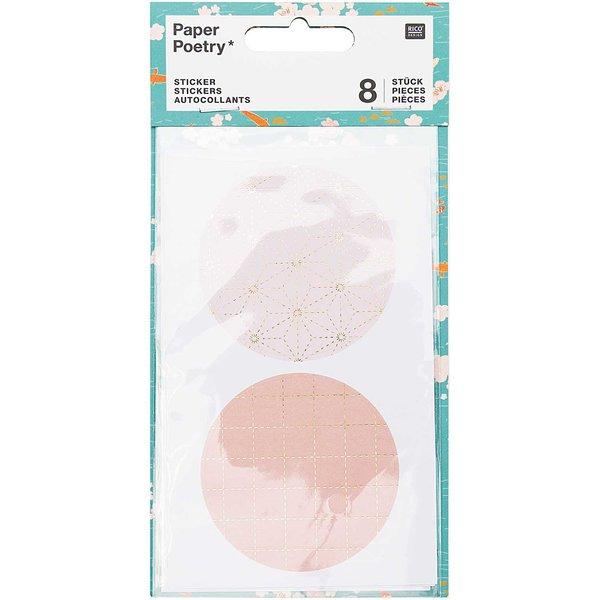 Paper Poetry Sticker Jardin Japonais grafisch pastell 8 Stück