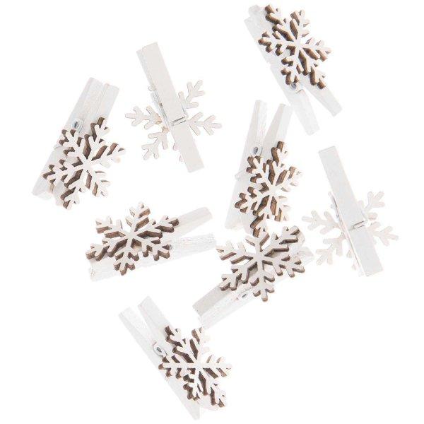 Ohhh! Lovely! Dekoklammern Schneeflocke weiß 3cm 8 Stück