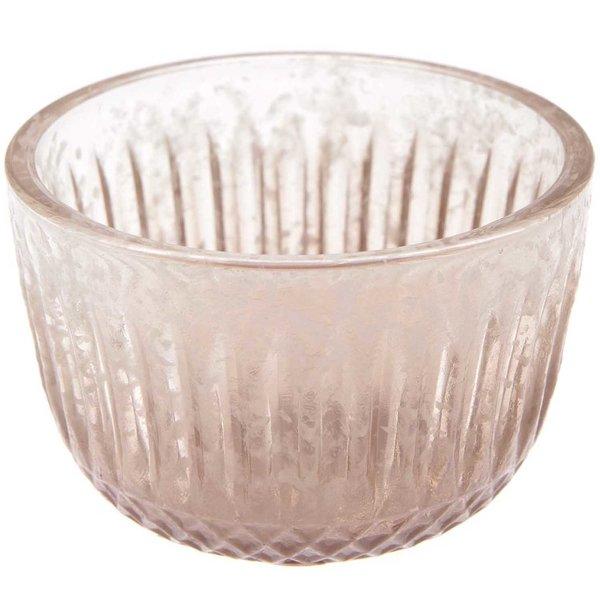 Teelichthalter aus Glas braun 8x8cm