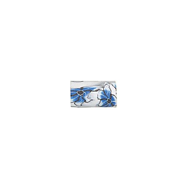 Jewellery Made by Me Perle Röhre Blume weiß-blau 10x6mm 8 Stück