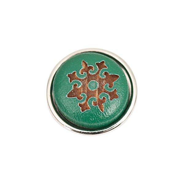 Rico Design Knopf Ornament grün-braun 14mm