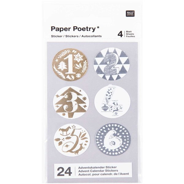 Paper Poetry Adventskalender Sticker gold-silber 24 Stück