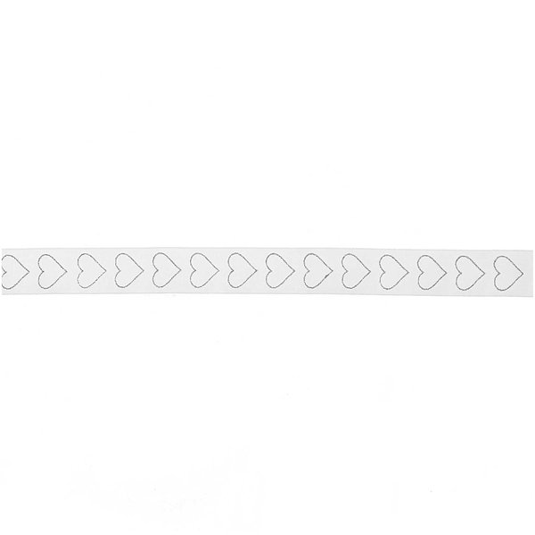 Organzaband Herzen weiß-silber 25mm 5m