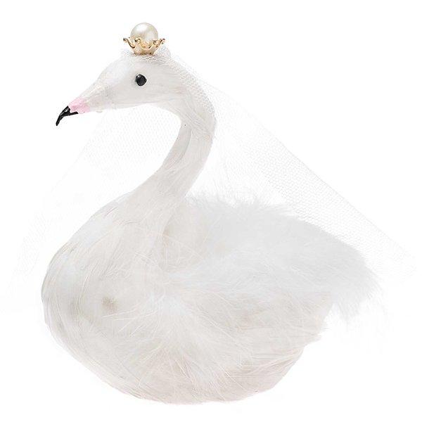 Schwan mit Krone weiß 15x13cm