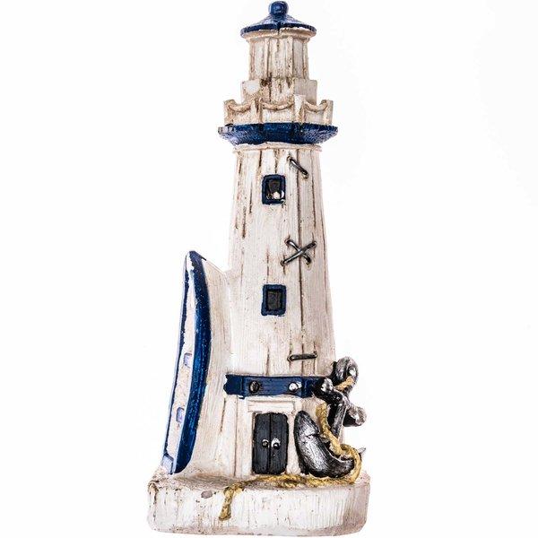 Leuchtturm mit Ruderboot weiß-blau 15cm