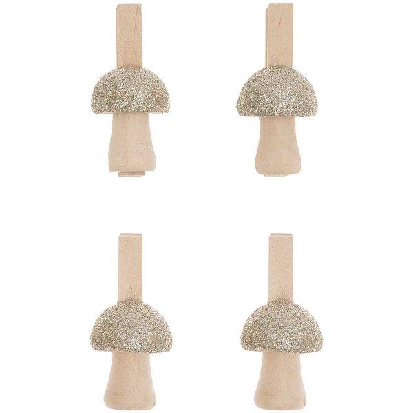 Ohhh! Lovely! Holzclips Pilz mit Glitter natur-gold 4,8cm 4 Stück