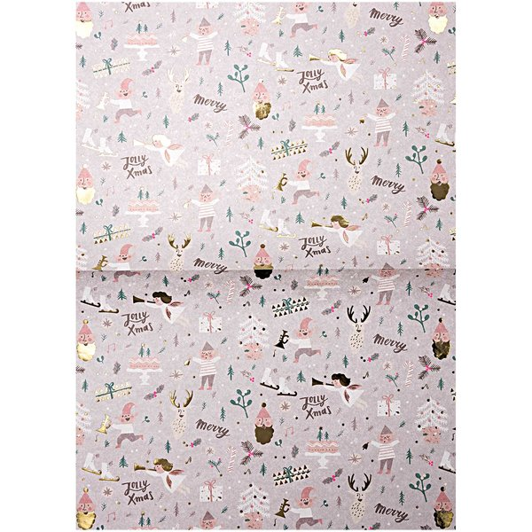 Rico Design Paper Patch Papier Jolly Christmas pastell 30x42cm