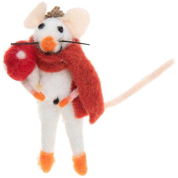 Filz-Maus mit Pilz weiß-rot 11cm