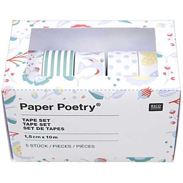 Paper Poetry Tape Set blau  1,5cm 10m 5 Stück