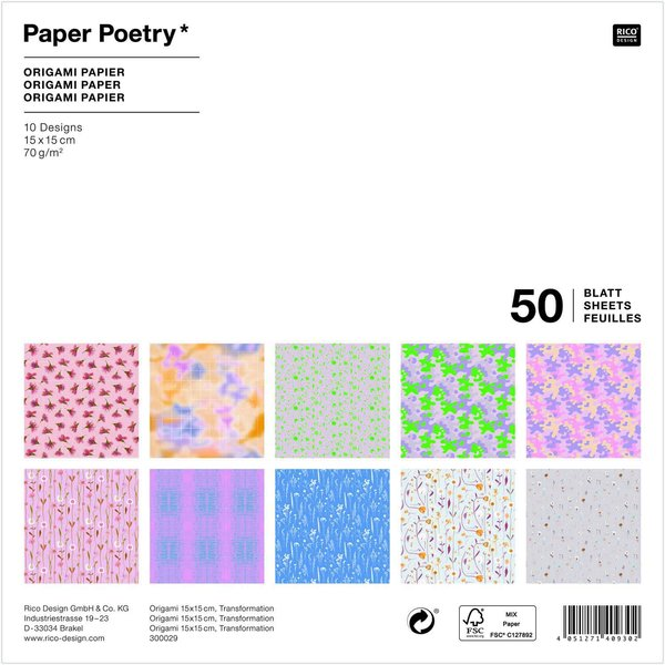 Paper Poetry Origami Transformation 15x15cm 50 Blatt