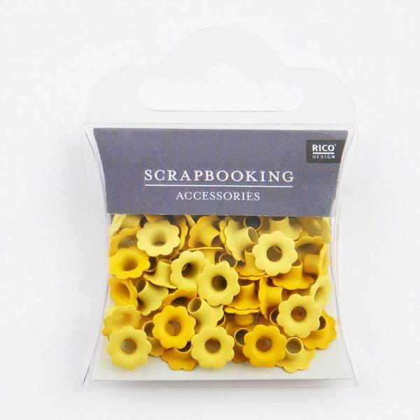Rico Design Blumen-Ösen gelb 7mm 50 Stück