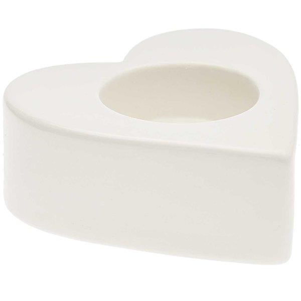 Porzellan-Teelichthalter Herz weiß 9,5x9,2cm