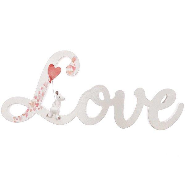 Schriftzug Love weiß-rot 28x12cm