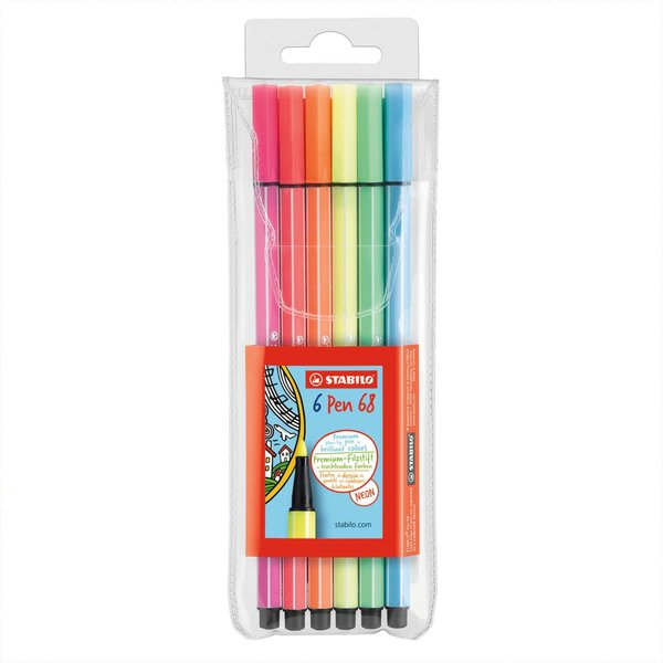 STABILO Pen 68 Neonfarben im Etui 6 Farben
