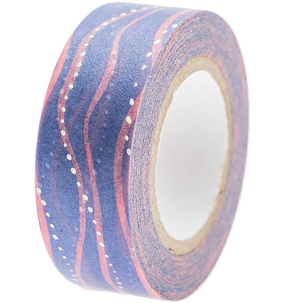 Paper Poetry Tape Mermaid Wellen blau-rosa 1,5cm 10m