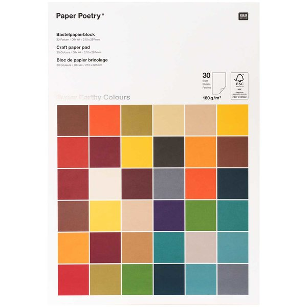 Paper Poetry Bastelblock Super Earthy Colours A4 180g/m² 30 Blatt