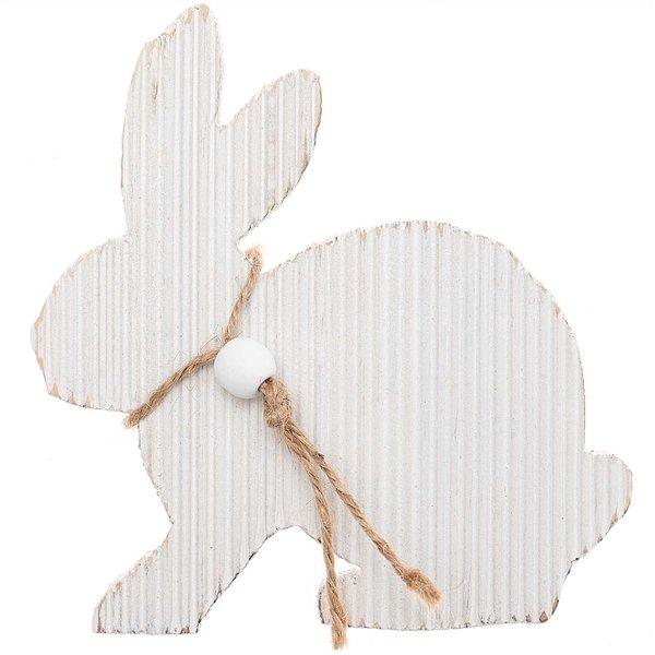 Hase sitzend Holz weiß 12cm