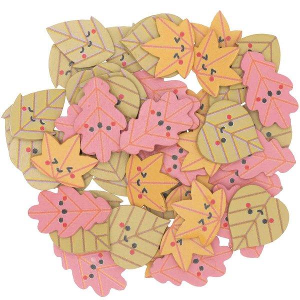 Ohhh! Lovely! Holzstreu Blätter Mix bunt 48 Stück