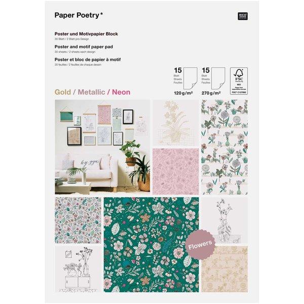 Paper Poetry Motivpapier Block Hygge Flowers 30 Blatt