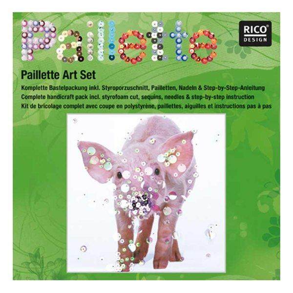Rico Design Pailletten Bastelpackung Schwein 30,5x30,5cm