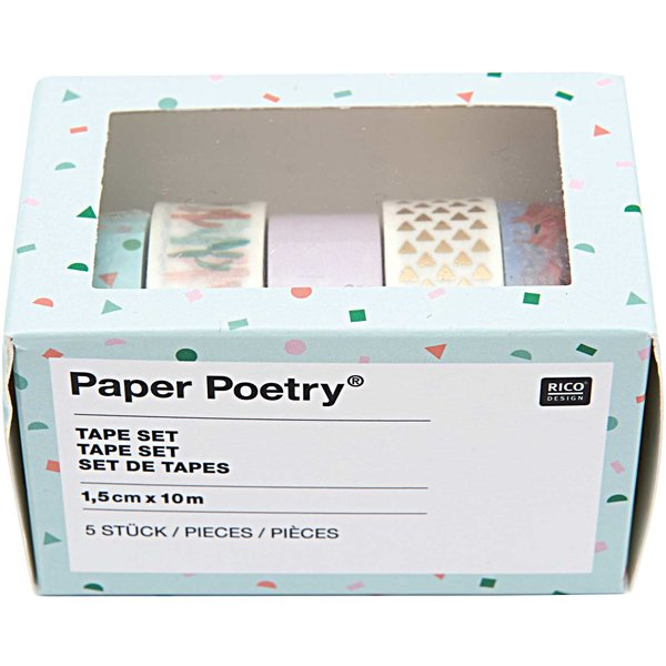 Paper Poetry Tape Set Flamingo 1,5cm 10m 5 Stück