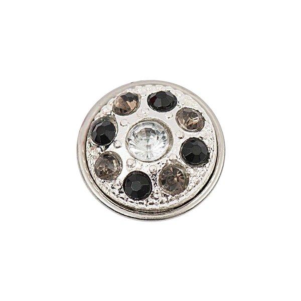 Rico Design Knopf Strass grau-schwarz-weiß 14mm
