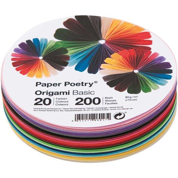Paper Poetry Origami basic rund 10cm 200 Blatt 20 Farben