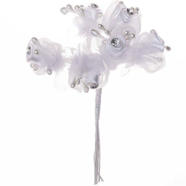 Wickelblüte mit Strass weiß 6 Stück