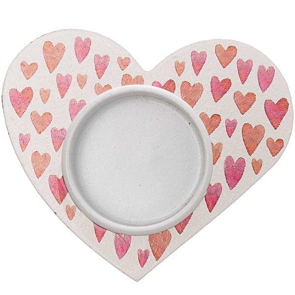 Teelichthalter Herz rot-weiß 9x8cm