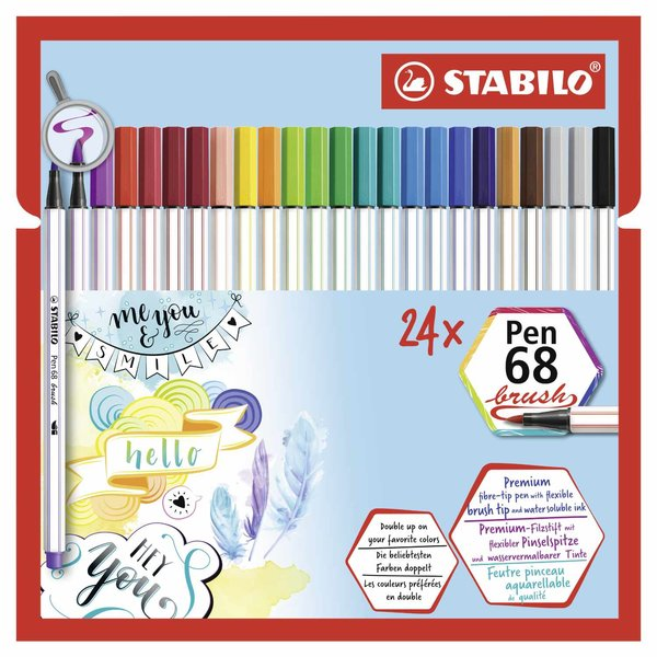 Stabilo Pen 68 brush im Kartonetui mit Neonfarben 24 Farben