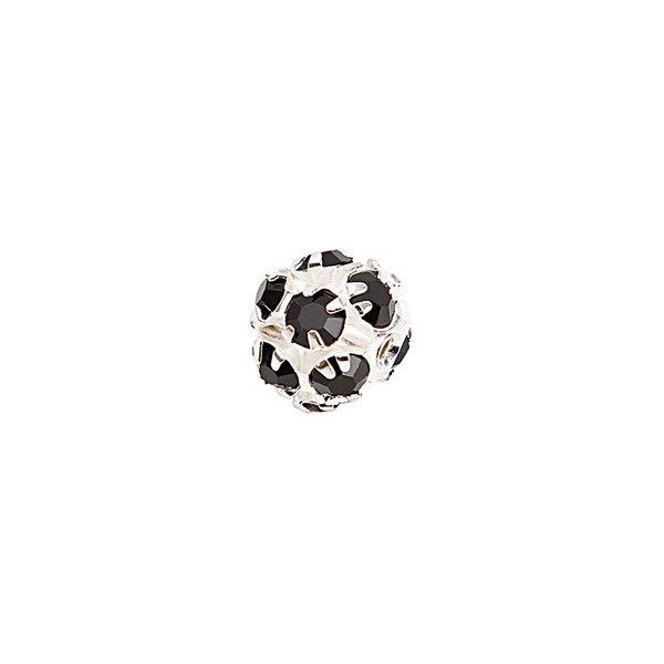 Rico Design Strassperle silber-schwarz 10mm 2 Stück