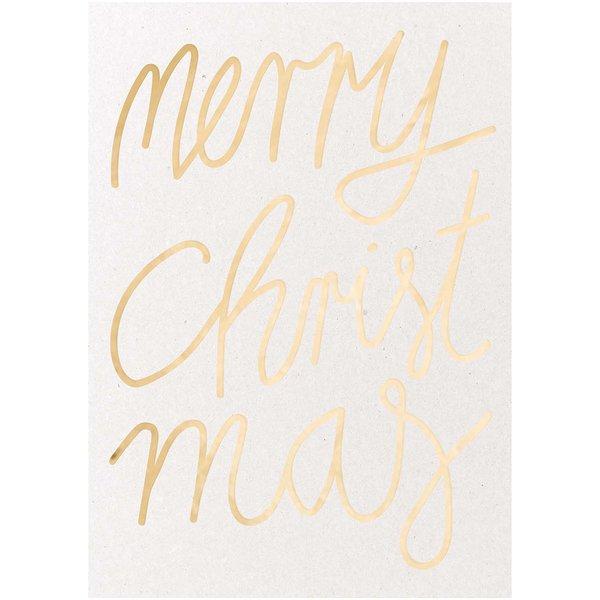 Postkarte Merry Christmas Graukarton gold B6