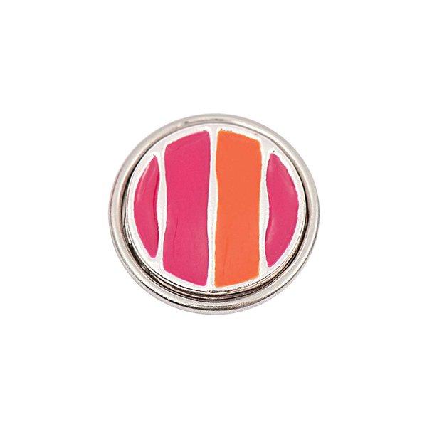 Rico Design Knopf Streifen lila-orange 14mm