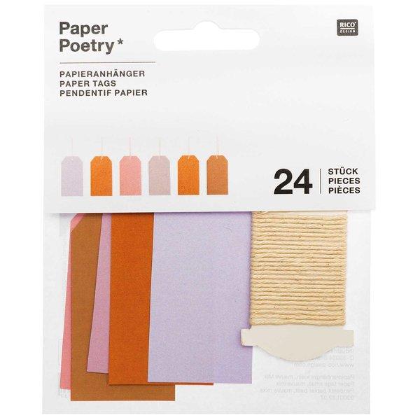 Paper Poetry Papieranhänger klein mauve 3x6cm 24 Stück