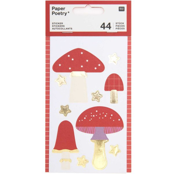 Paper Poetry Sticker Pilze 4 Blatt