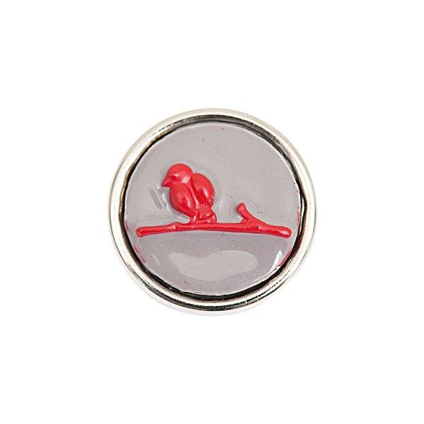 Rico Design Knopf Vogel rot-silber 14mm