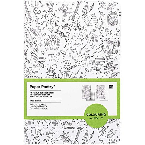 Paper Poetry Notizbuch A5 Insekten zum Ausmalen 2 Stück
