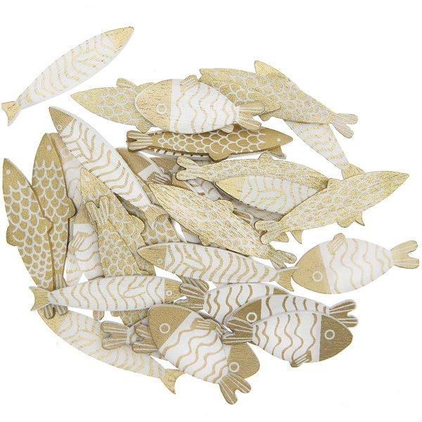 Ohhh! Lovely! Holzstreu Fisch gold-weiß 36 Stück