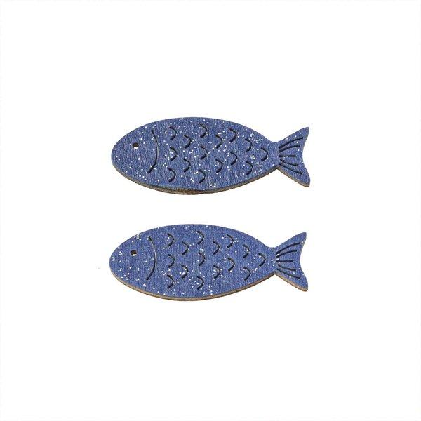 Hobby Fun Holz-Fische dunkelblau mit Glimmer 6 Stück