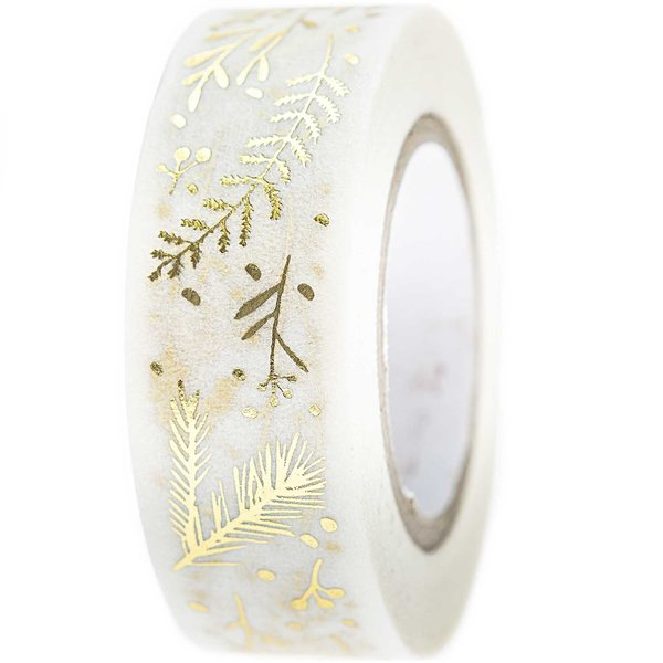Paper Poetry Tape Nostalgic Christmas Zweige weiß-gold 1,5cm 10m