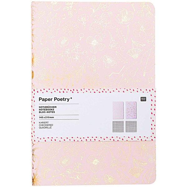 Paper Poetry Notizbücher Flowers A5 40 Seiten 2 Stück