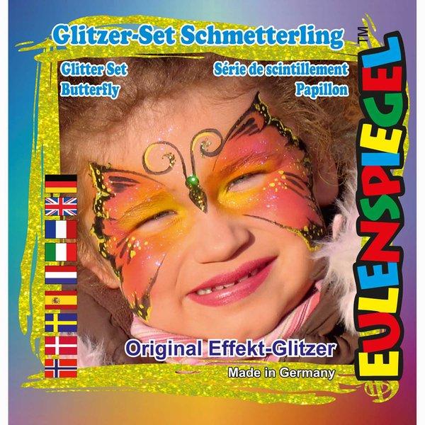 Eulenspiegel Glitzer Set Schmetterling 4teilig