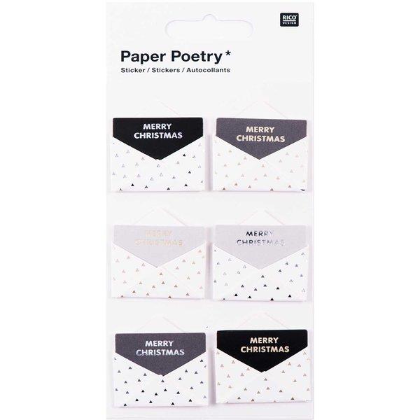Paper Poetry 3D Sticker Umschläge schwarz-weiß Hot Foil