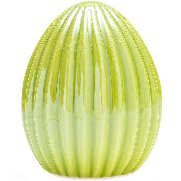 Ei mit Rillen Keramik pearl grün 11x8,6cm