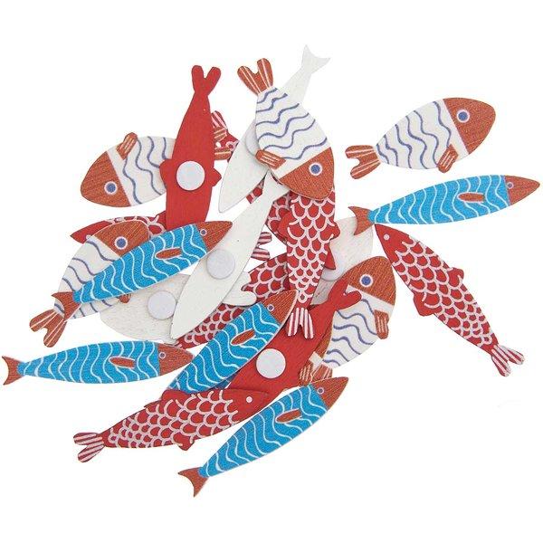 Ohhh! Lovely! Holzsticker Fisch Mix rot-blau 24 Stück